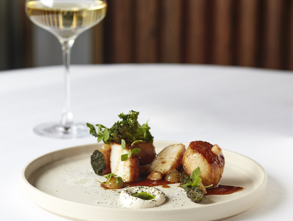 Roast Orkney scallop, asparagus mousse, smoked bonito and lime dressing at Marcus Restaurant in Knightsbridge